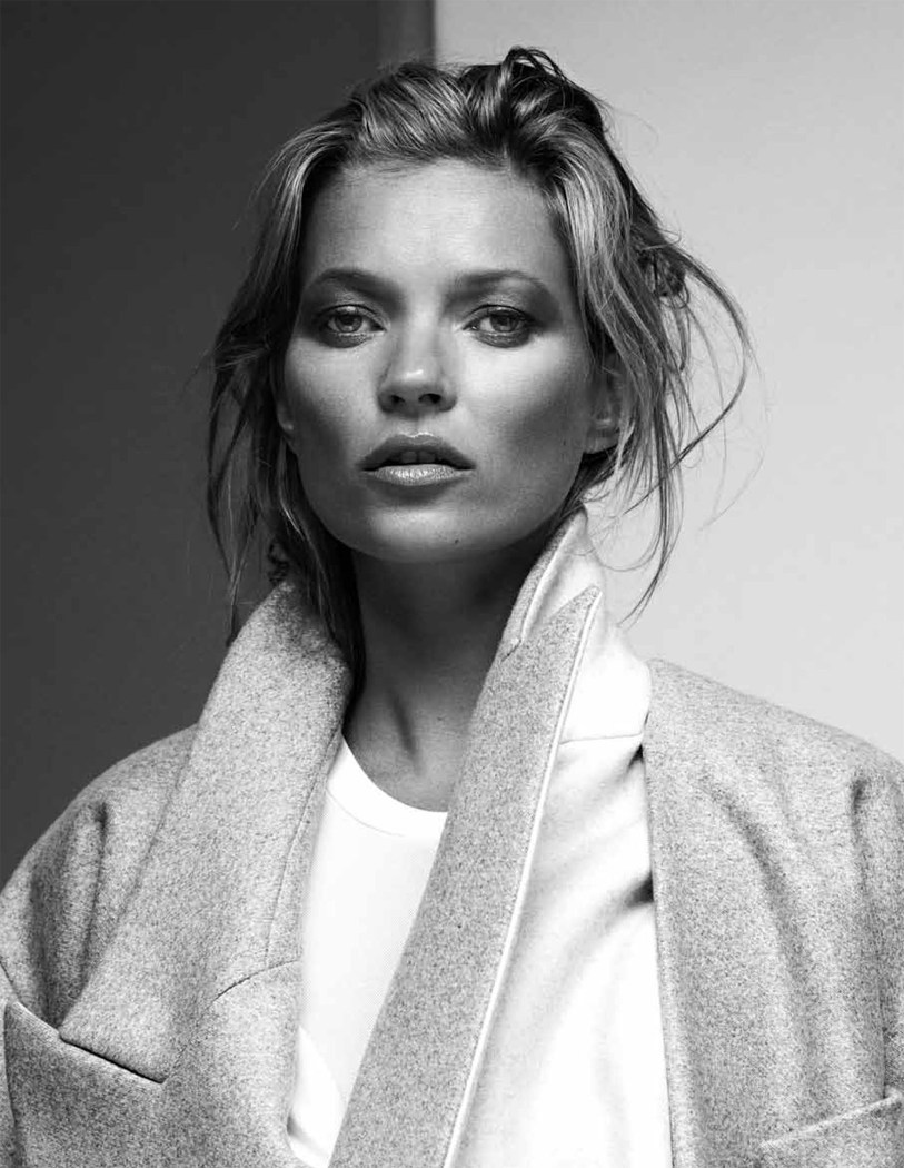 kate moss in black and whie