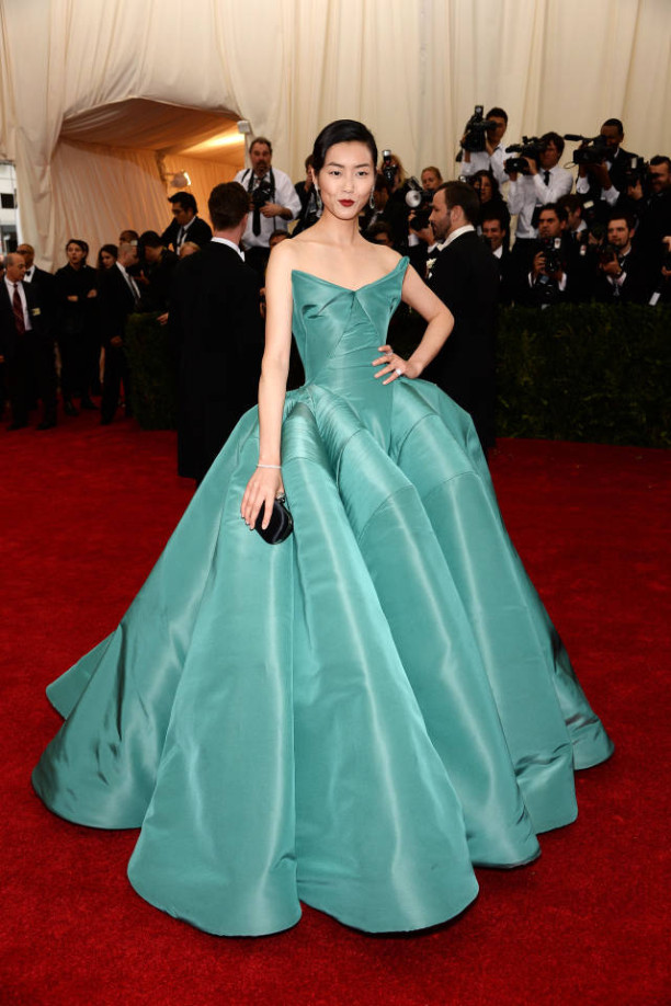 Liu Wen in Zac Posen at The Met Gala 2014