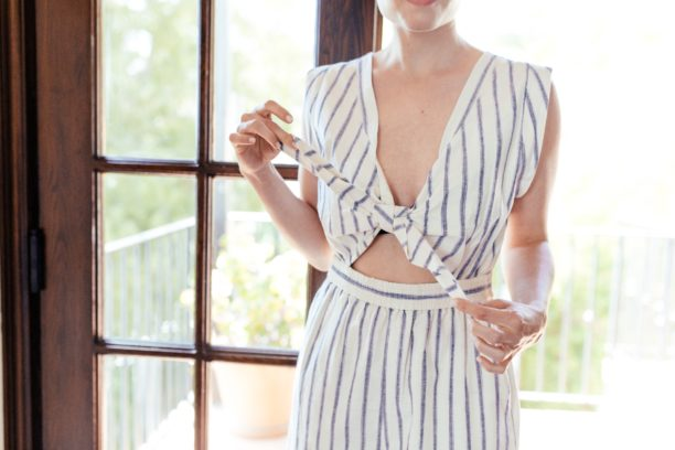 madewell Tie-Front Culotte Jumpsuit in Ikat Stripe