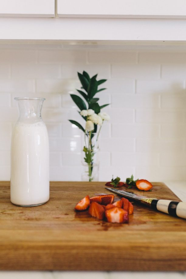 make your own strawberry almond milk